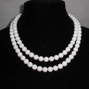 Silver Tone White Lucite Plastic Dual Strand Bead
